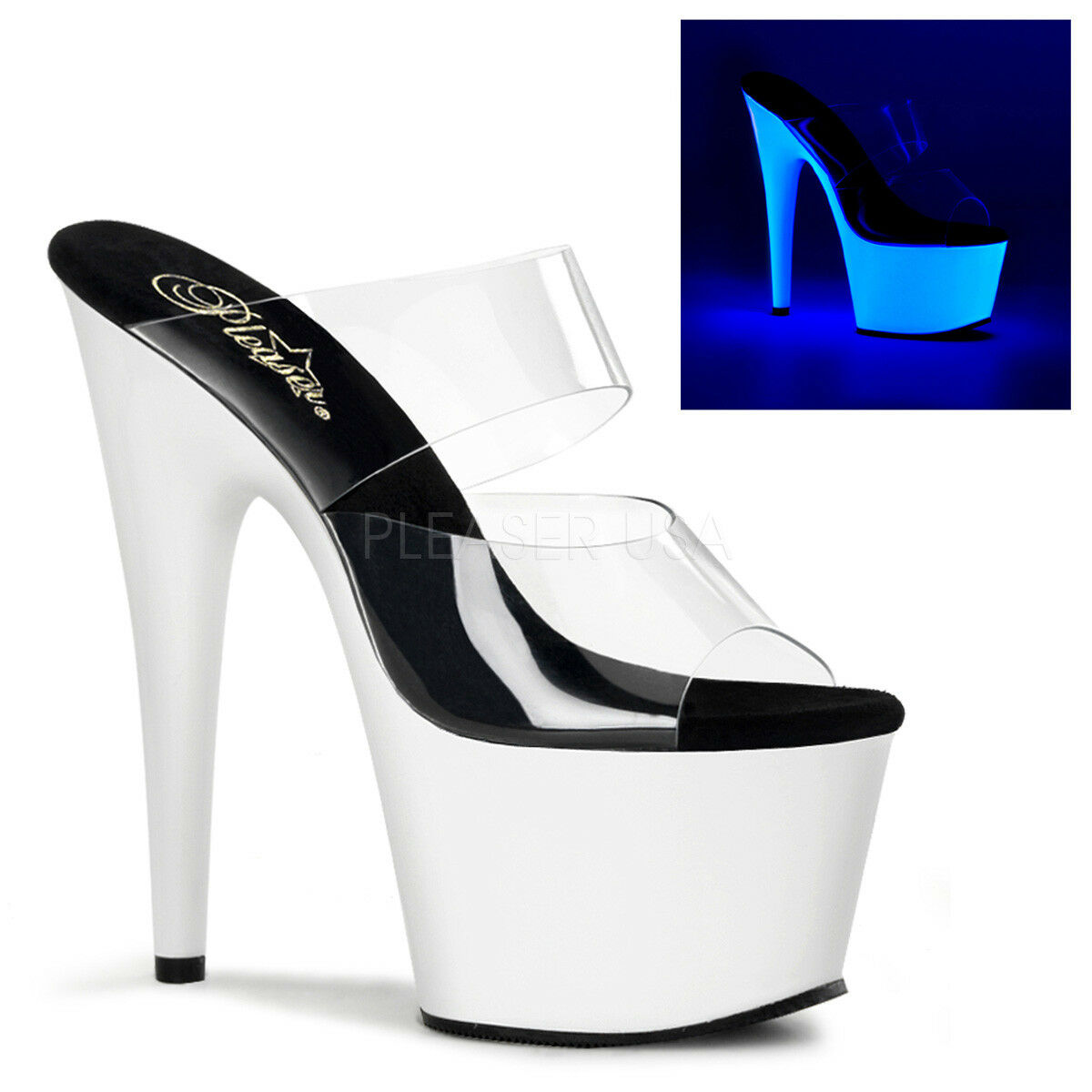 Pleaser ADORE-702UV Women's Clear Neon White High High High Heel Platform Slide On Sandals 4bbc9d