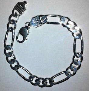 Mens-Bracelet-Sterling-Silver-925-Figaro-Link-8-2-MM-8-5-034-21-Grams-Lobster-Clasp