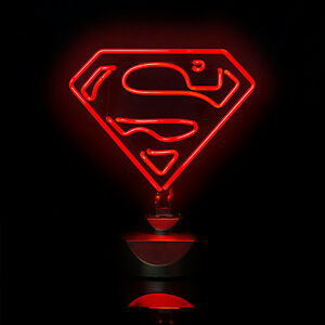 Superman Super Heros Neon Rouge Luminaire 30 Cm Lampe De Chevet