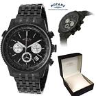13c Rotary Mens Black Chronograph Stainless Steel Bracelet Watch Date Gb03778/04