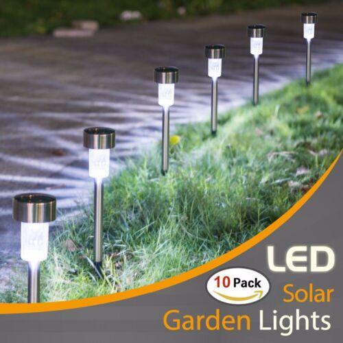 10PCS Solar Power LED Stake Lights Garden Yard Lawn Lamp White Light Waterproof