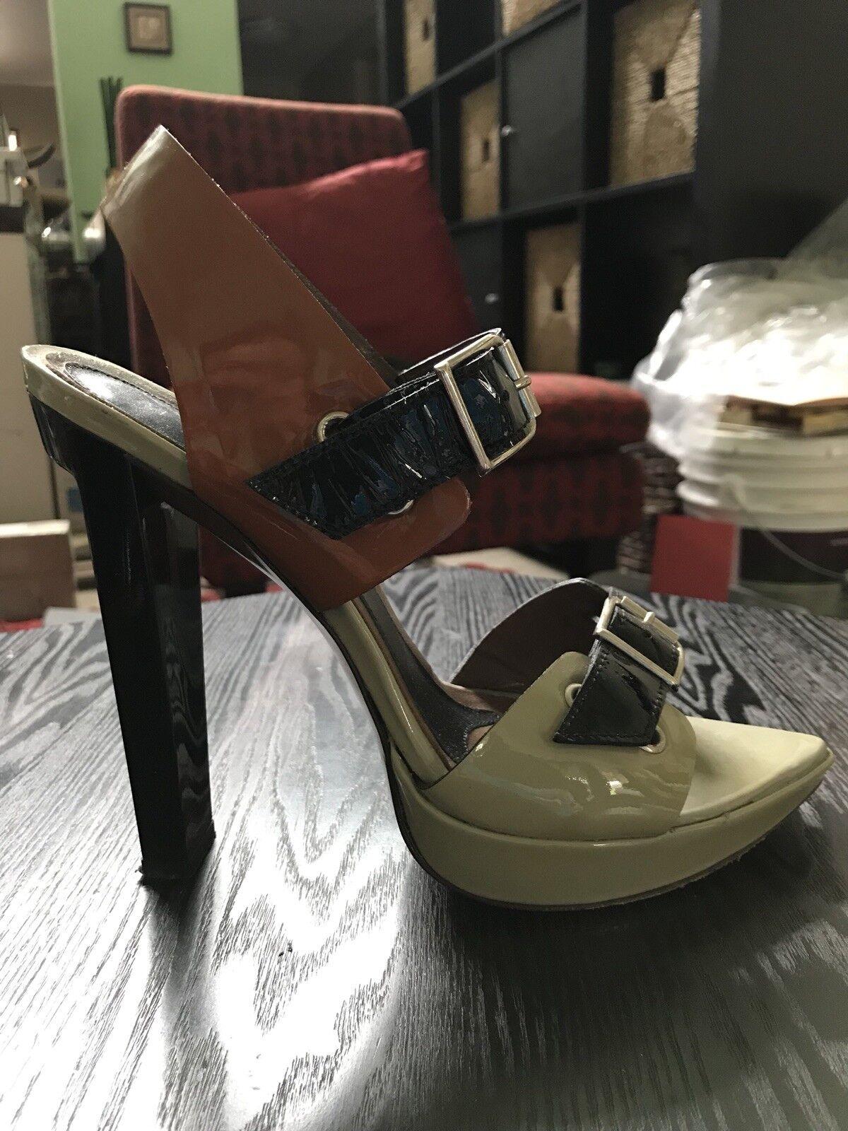 890 Stunning MARNI Tri-color Patent Leather Brown Platform Heels Buckles 38