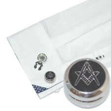 Rhodium Plated Masonic (No G) Design Cuff Button Covers