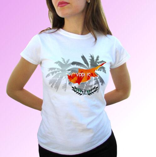 Chypre Palm FLAG-Blanc T Shirt Vacances TOP DESIGN Hommes Femmes Enfants Bébé Tailles