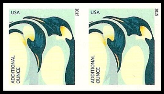 US 4989a Penguins Additional Ounce imperf NDC horz pair MNH 2015