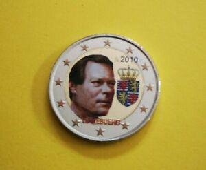 2 euro commémorative colorisée Luxembourg 2010 Grand Duc Henri