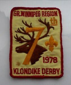Vintage-cloth-Scouts-badge-GR-Winnipeg-Region-7th-1978-Klondike-Derby