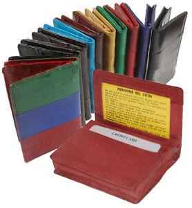 GENUINE-EEL-SKIN-LEATHER-Bifold-Wallet-Credit-Business-Card-Front-Pocket-Holder