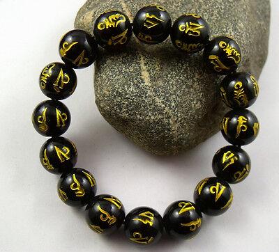 12mm Tibetan black agate Bead carve Mantra om mani padme hum Amulet Bracelet