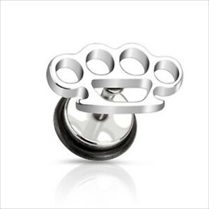1 Pc or 2 PIECES 16g Steel Brass Knuckle Fake Cheater Earrings Ear Plugs Gauges