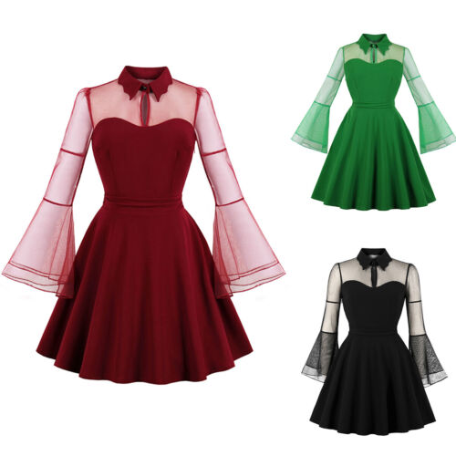 Ladies Rockabilly Vintage Swing Dress Housewife Party Evening Pinup Dresses Hot