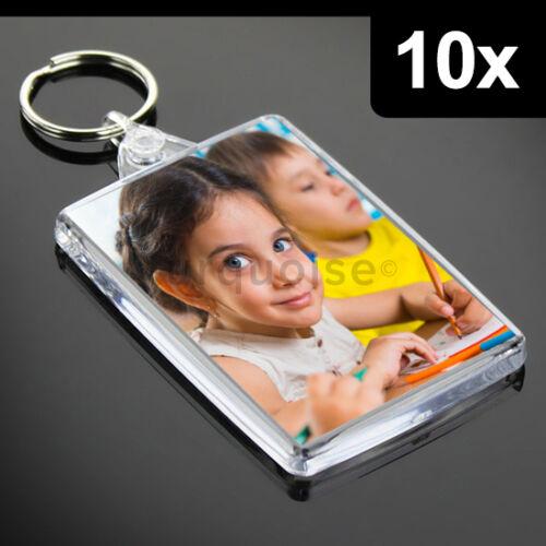 10x Premium Quality Clear Acrylic Blank Keyrings Key Fobs 70 x 45 mmLarge