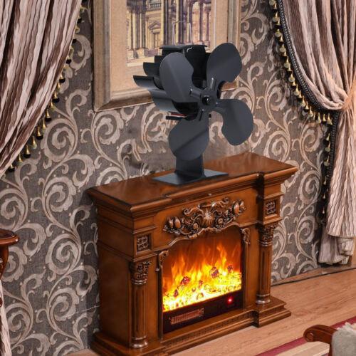 4-Blade Heat Powered Stove Fan Log Wood Burner Ecofan Home Fireplace Fan D3B4
