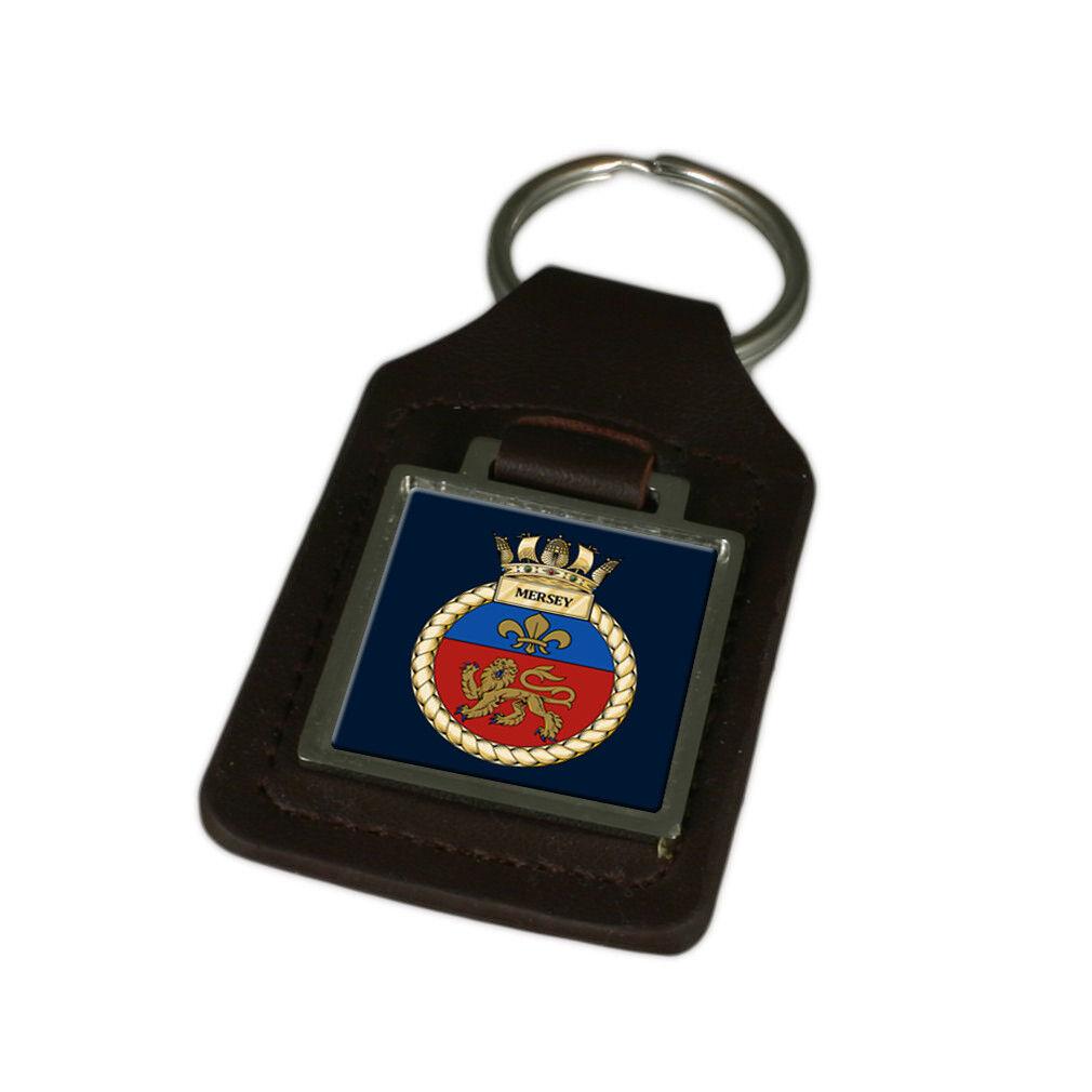 Königliche Marine Hms Mersey Mersey Mersey Graviert Schlüsselanhänger aus Leder   Wirtschaftlich und praktisch  effee4