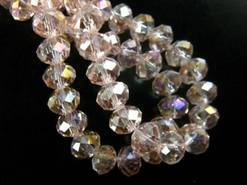 10mm 25pcs Faceted Rondelle Crystal Glass Loose Spacer Beads Jewelry Wholesale#Q