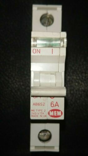 MEM AB6S2 M6 B6 6 Amp Tipo 2 un polo Reja de desminado