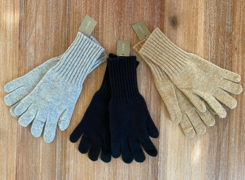 J. Crew Women's 100% Cashmere Gloves - Gray Black Camel - Nwt Without Return