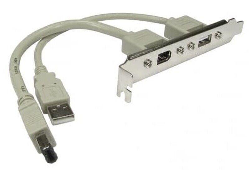 FireWire 400 6-pin & USB2.0 type-A sockets on a PC PCI plate / bracket