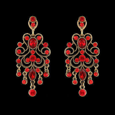 2015 Retro Flower Lace Dangle Earrings Ruby Red Austrian Crystal Gold Tone