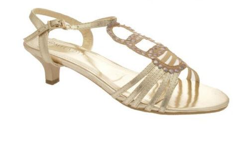 Toute nouvelle collection femme talon formelle gold SANDALES CHAUSSURES UK taille 6