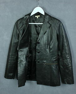 KOOKAI-Women-s-Thick-Black-Real-Leather-Shell-Buttoned-Blazer-SZ-40-or-LARGE