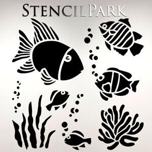Stencil Ocean Fish Art Pattern Template Reusable Adhesive Flexible Crafts DIY