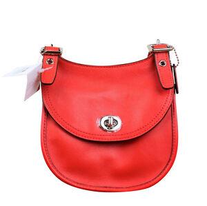 4ed626d3ebb0 Coach Legacy Leather Mini Saddle Bag Purse Carnelian Red 48038 Cross ...