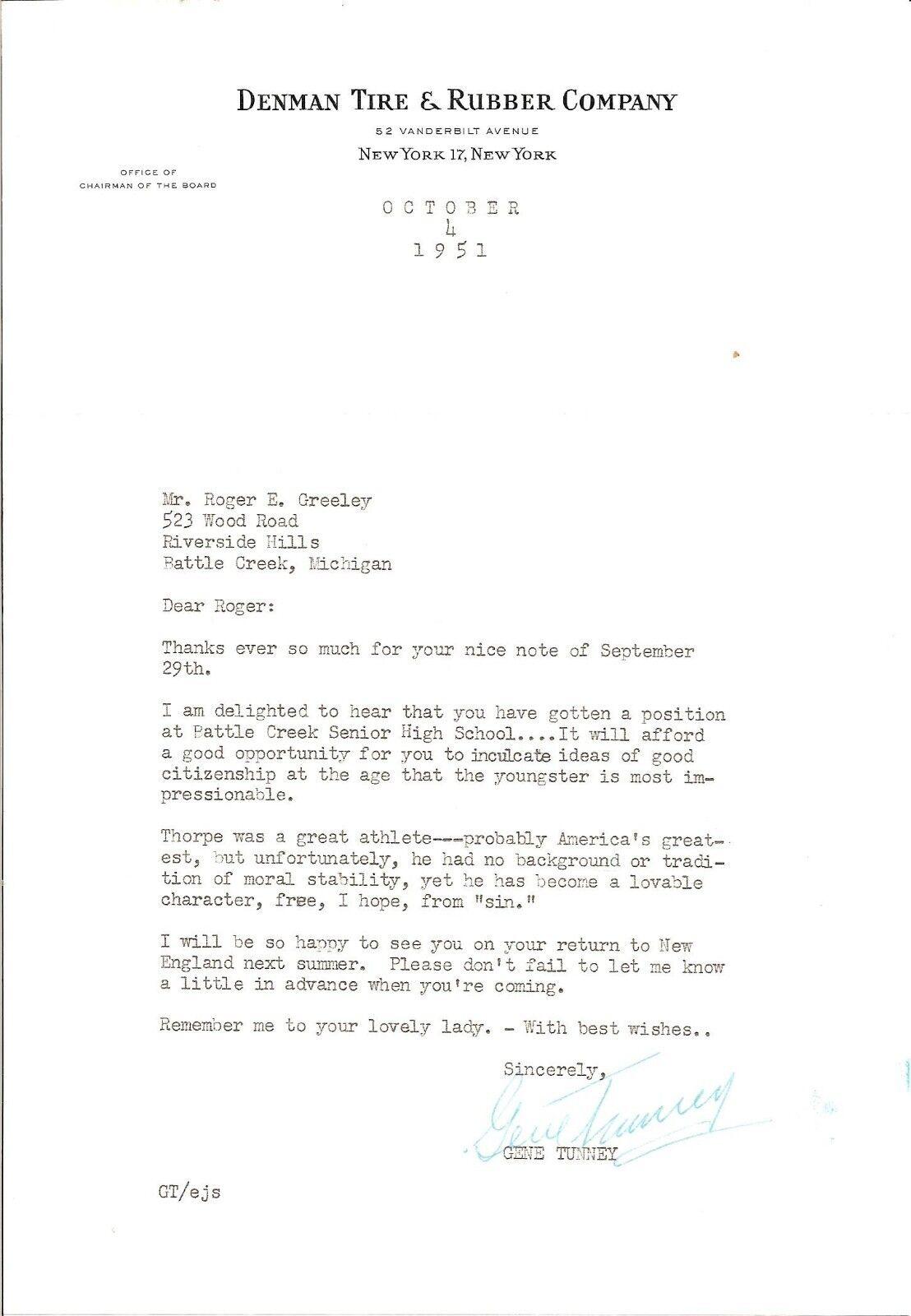 Gene Tunney Typewritten Letra Firmado W  sobre de 1951 W COA