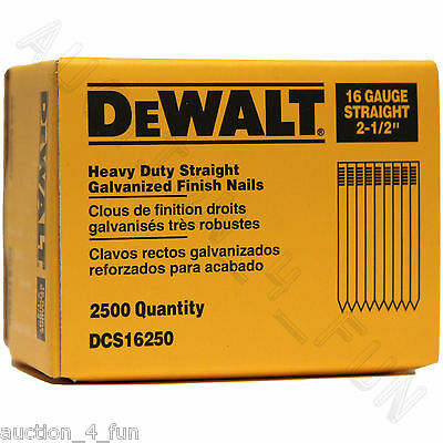 "11pk DeWalt DCS16250 2-1/2"" Straight Galvanized Finish Nails 27,500ct 16Gauge"