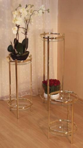 Blumenständer Blumen  Pflanzenschale Pflanzenständer 3er Set Glas Messing