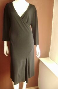 M-amp-S-Kleid-schwarz-4XL-UK-20-US-1X-Gr-48-langarm-Stretch-Raffungen