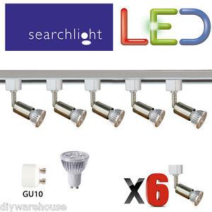 Faretti Led 6 Watt.Dettagli Su Searchlight Binario Illuminazione Faretti Spot 6 X 6 Watt Led Luce Raso Argento Mostra Il Titolo Originale