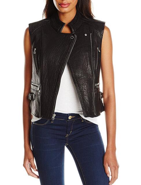 Dawn Levy New York Black Leather Moto Biker Vest M New $450