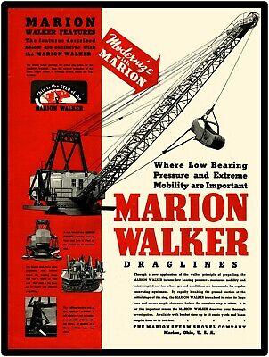 Marion Walker Dragline Featured Ohio New Metal Sign Marion Steam Shovel Co