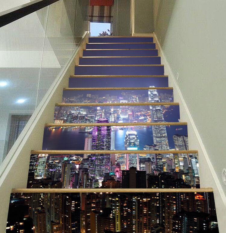 3D Light City 16 Stair Risers Decoration Photo Mural Vinyl Decal Wallpaper UK