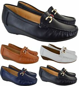 LADIES-WOMENS-LOW-HEEL-WEDGE-COMFORT-DESIGNER-WORK-LOAFERS-SHOES-SIZE-3-8-NEW