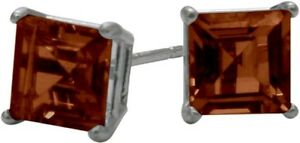 1-50Ct-Genuine-5mm-Square-Garnet-14K-WG-Stud-Earrings