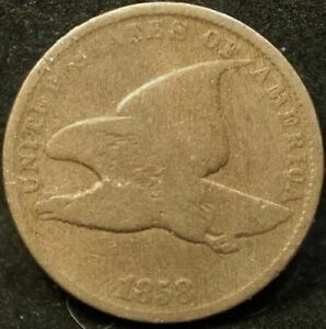 1858 Flying Eagle Penny Cent Old Type SL Coin g - vg