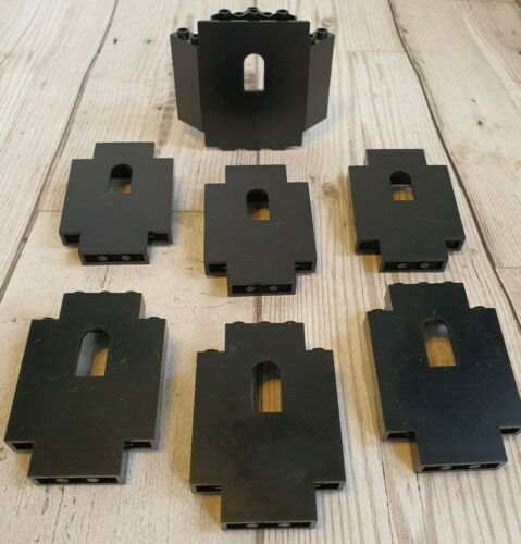 LEGO 7 x CASTLE WALLS Part No 4444 6055 BLACK USED WASHED