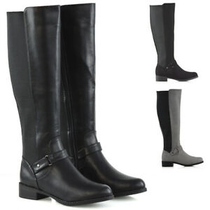 Womens-Knee-High-Flat-Low-Heel-Ladies-Zip-Buckle-Stretch-Leg-Calf-Boots-Size-3-8