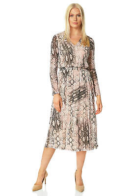 Snake Print Shutter Pleat Dress Women Roman Originals
