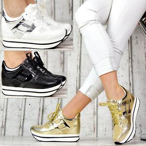 Neu-XXL-Plateau-Sneaker-Damenschuhe-Wedge-Sportschuhe-Glitzer-Absatz-SeXy