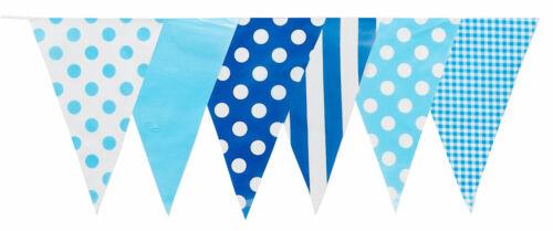 Bunting 20 Flags Blue White Multi Mix10 Metres Long Chelsea Polka Stripe