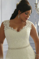 New Plus Size White/Ivory Satin Lace Beaded Bridal Gown Wedding Dress:14--26