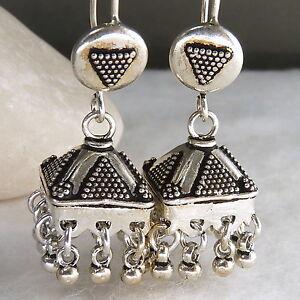 Tribal-JHUMKA-SilverSari-Ghungroo-Art-Hook-Earrings-Solid-925-Sterling-Silver