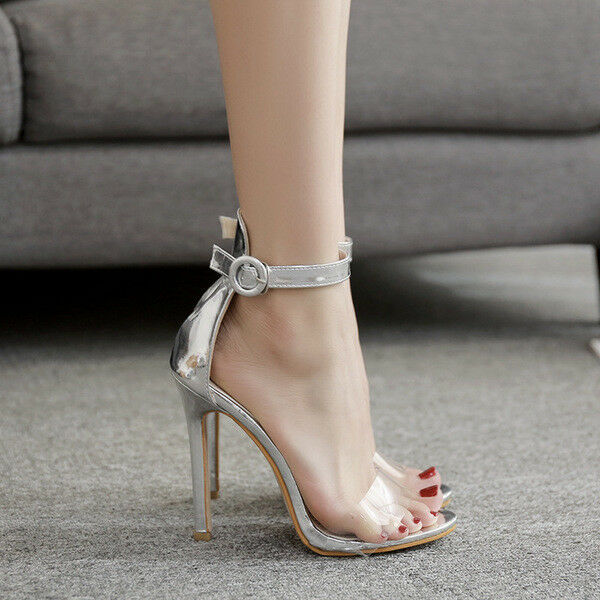 Sandale stiletto spillo 12 cm silver simil pelle comodi eleganti  cw995