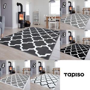 Dekoration-Kurzflor-Teppich-Gitter-in-Grau-Schwarz-Weiss-Modern-Muster-Wohnzimmer