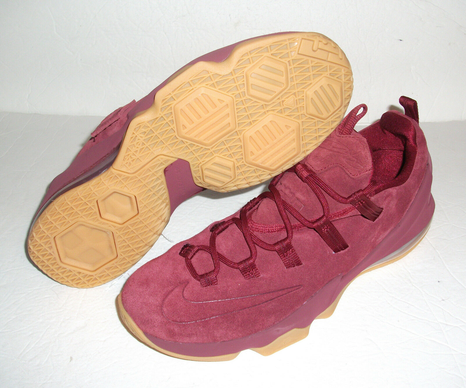 new product 52459 7a14c New Nike LeBron XIII XIII XIII Low Premium, Men s Size 11, Suede Burgundy Gum,  AH8289 600 495a7f