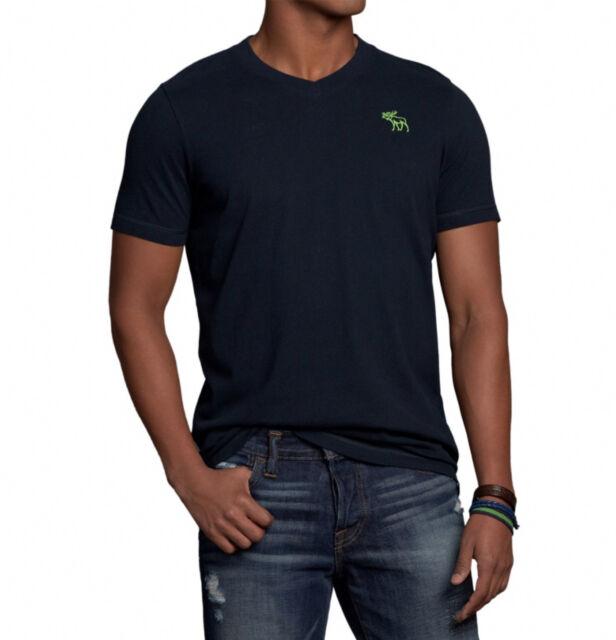 Abercrombie & Fitch Men Bushnell Falls Moose V-Neck Tee T-shirt Navy - $0 Ship