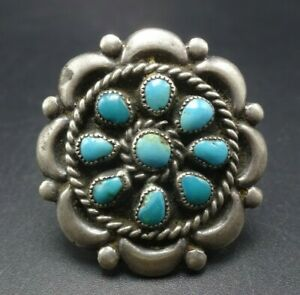 Vintage-NAVAJO-Sterling-Silver-TURQUOISE-Petit-Point-Cluster-RING-size-6-75